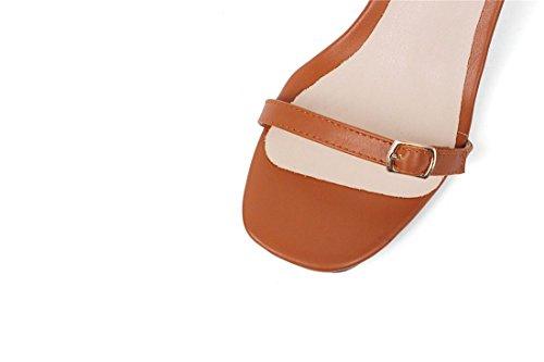 Brown Primavera y Cuadrada con de de Cabeza AIKAKA de Gran Palabra Sandalias Verano la Zapatos en Mujer Tamaño n80FRS