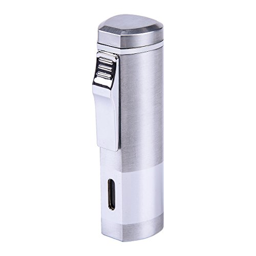 HOUSWEETY Triple Jet Flame Butane Cigarette Torch Lighter Silver