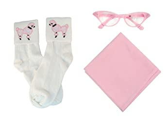 Kids 1950s Clothing & Costumes: Girls, Boys, Toddlers Hip Hop 50s Shop Child 3 Piece Accessory Set (Scarf-Poodle Socks-Cat Eye Glasses $19.84 AT vintagedancer.com