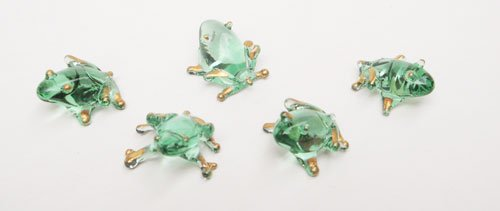 Set of Five Blown Glass Frog Figurine Set 0.5