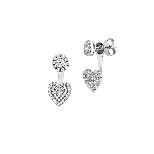 MASSETE Sterling Silver 925 Round Pave CZ and Heart Front Back Ear Jacket Post Earrings Interchangable