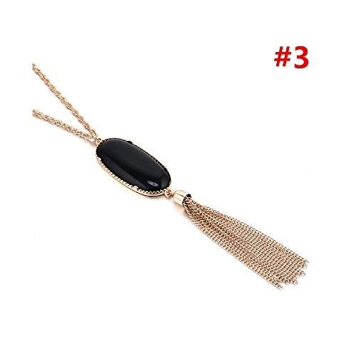 (CAIYCAI Women Lady Big Oval Abalone Druzy Stone Long Tassel Metal Chain Pednant Necklace Sweater Necklaces Party Jewelry style 3 onesize )