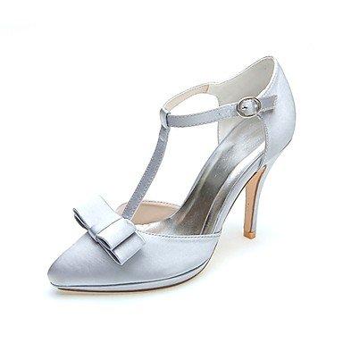RTRY La Mujer De Satén Zapatos Formales Zapatos De Boda Boda Primavera Verano &Amp; Noche Bowknot Stiletto Talón Marfil Plata Negro 3A-3 3/4 Pulg. US9 / EU40 / UK7 / CN41