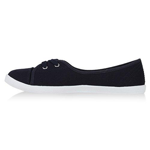 best-boots Damen Ballerinas Sneaker Schnürer Slipper Halbschuhe sportlich Navy 1337 Größe 37