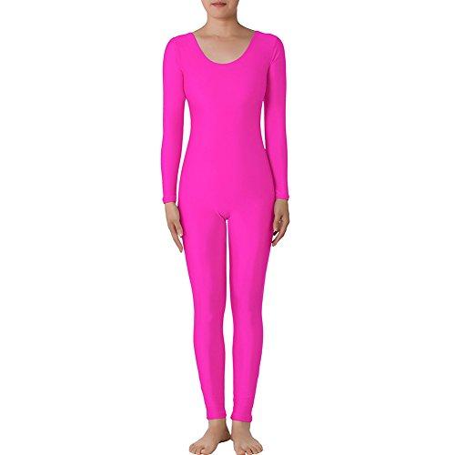 Muka Scoop Neck Long Sleeve Unitard Lycra Zentai Bodysuit Catsuit Dancewear PINK-XXL (80s Dress Up Ideas For Men)