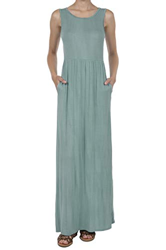 8068 Women's Distressed Sleeveless Casual Pockets Pleated Loose Swing Maxi Dress SAGE XL