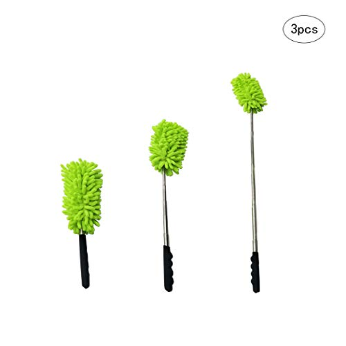 Hanlianwen Bendable Microfiber Dusting Brush Extendable Duster Brushes Cleaner with Telescopic Pole, Washable Dust Head, Anti Slip Black Handle for Household Office Car Home etc 3Pcs (Green) by Hanlianwen