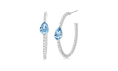 (Devin Rose 35mm Open Hoop Earrings for Women Made With Swarovski Crystal in Rhodium Plated Brass (Color:)