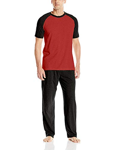 Hanes Men's Adult X-Temp Short Sleeve Cotton Raglan Shirt and Pants Pajamas Pjs Sleepwear Lounge Set - Chili Pepper ()