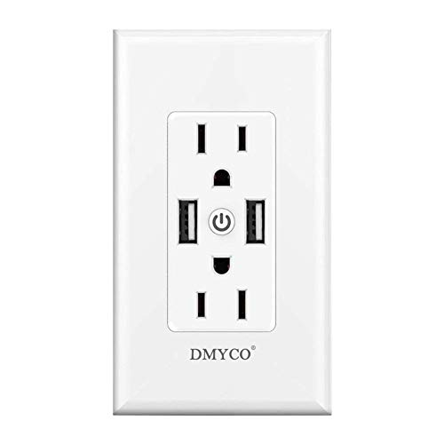 WiFi Smart Wall Outlet,Top & Bottom Outlets are Independently  Controllable,Duplex Receptacle Socket,Compatible with Alexa Dot Echo Plus  Google