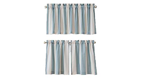 h Window Curtain Tier Pair in Blue ()