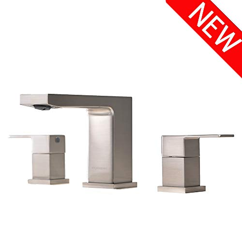 VCCUCINE Best Commercial Lead Free 3 Holes Two Handles Lavatory Vanity Sink Widespread Brushed Nickel Bathroom Faucet, Bathroom Sink Faucet With Hoses