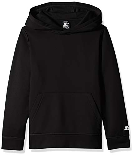 Starter Boys' AUTHEN-TECH Pullover Hoodie, Amazon Exclusive, Black, L