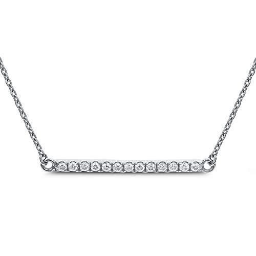 DIAMOND COUTURE 14K White Gold 0.13 Carat Diamond Bar Necklace for Women 18