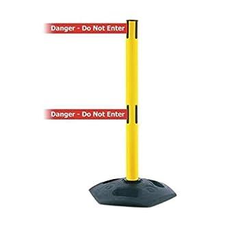 2.5 Width Tensabarrier 886T2-23-STD-NO-RGX-C Post 76 Length Red Caution Do Not Enter Belt Blue 16 Length 38 Height Recycled Rubber