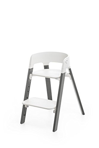 Complete Toddler System - Stokke Steps Chair Complete, Storm Grey Legs and White Seat