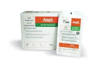 Ansell 5787002 Encore Microptic Powder-Free Latex Surgical Gloves, Size 6.5, 50 Pairs per Box