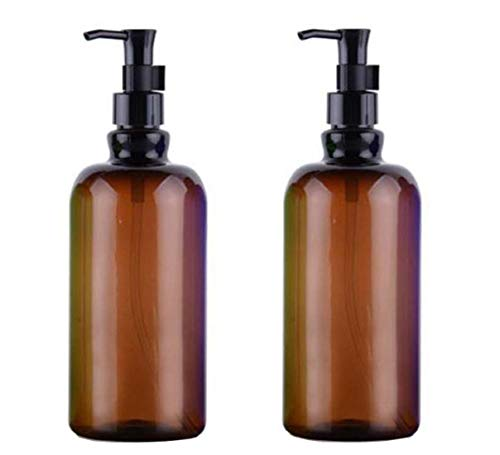 2PCS 500ml/17 OZ Empty Refillable Amber Plastic Shampoo Bottle Cosmetics Jar Pot Case Holder With Black Pump Head And Locking System For Cleanser Makeup Essential Oil Lotion Liquid Bottles(Amber)