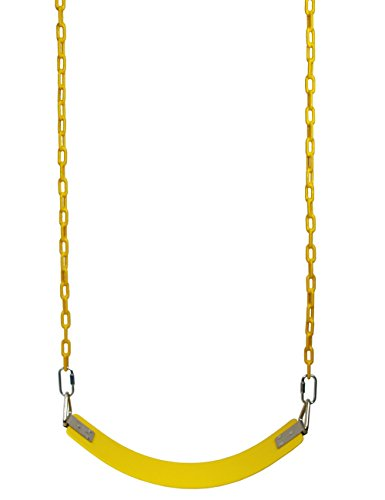 Disney Swing Sets (Langxun Yellow Heavy Duty Swing Seat with 60 Inch Upgraded Fully Coated Water Resistant Chain for Children Indoor Outdoor Swing Set - Birthday Gifts, Thanksgiving gifts and Christmas Gifts for Kids)