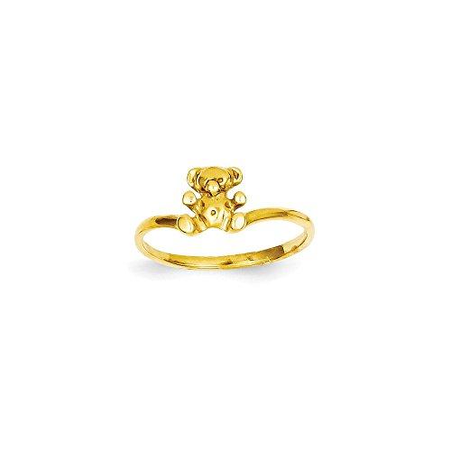 14k Ring Teddy Bear (Brilliant Bijou Genuine 14k Yellow Gold Childs Polished Teddy Bear Ring Size 5)