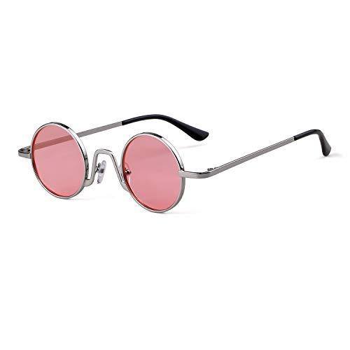 Marco Plata de de Rosa con Eyewear fino ovaladas ADEWU Lente Mujeres borde sol 1 Redondo Street Vintage Gafas metal Style Hombres qfwwHvU