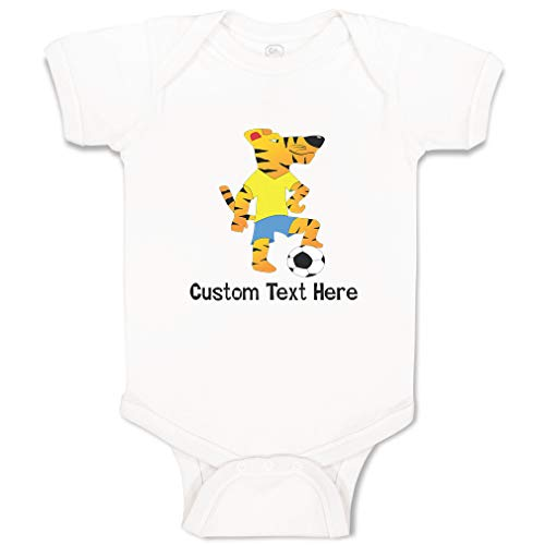 Tigers Personalized Football - Custom Personalized Boy & Girl Baby Bodysuit Tiger Playing Football Funny Cotton Baby Clothes White Personalized Text Here 6 Months