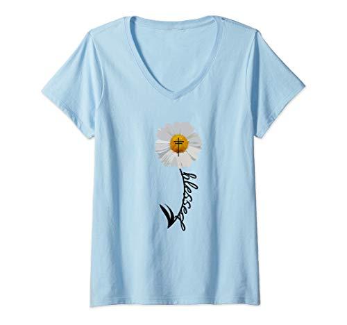 Womens Blessed Cross Bible Christian Religious Daisy Trendy Gift V-Neck - T-shirt Daisy Womens V-neck