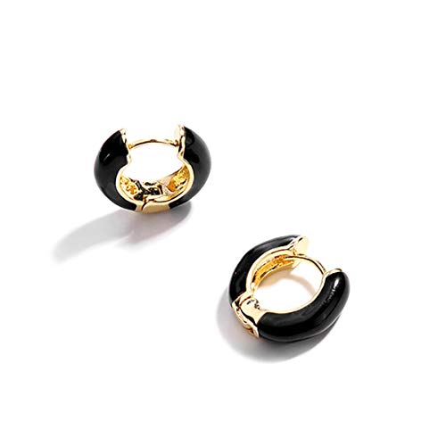Gold Plated Huggie Earrings, Black Enamel Small Hoop Earrings Gift for Women Girls