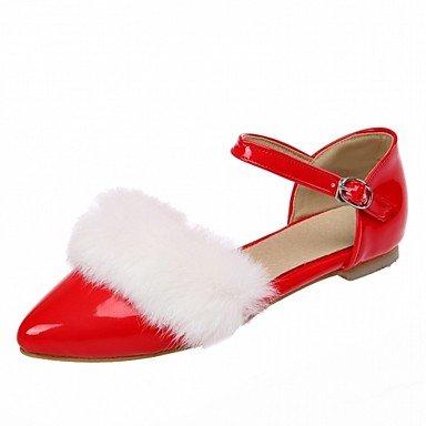 Cómodo y elegante soporte de zapatos de las mujeres pisos comodidad novedad patente cuero piel sintética piel de primavera verano otoño boda oficina y carrera vestido casual fiesta & eveningflat rojo