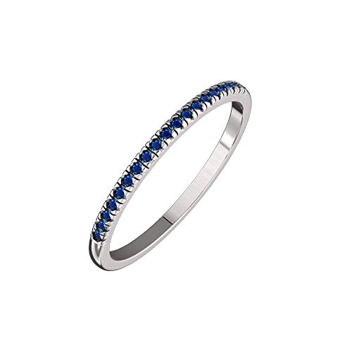- Solid Sterling Silver Delicate & Dainty Band Ring with 21 Blue Sapphire Gemstones for Women