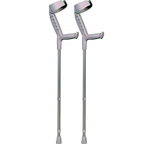 ORTONYX Forearm Crutches with Pivoting Closed-Cuff (1 Pair), Adjustable, Ergonomic Comfortable Wrist Handle, Heavy Duty for Standard and Tall Adults, Lightweight Aluminum