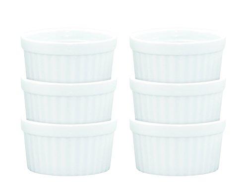 Porcelain Quiche (HIC Ramekins, Fine White Porcelain Souffle, 3-Inch, 3-Ounce Capacity, Set of 6)