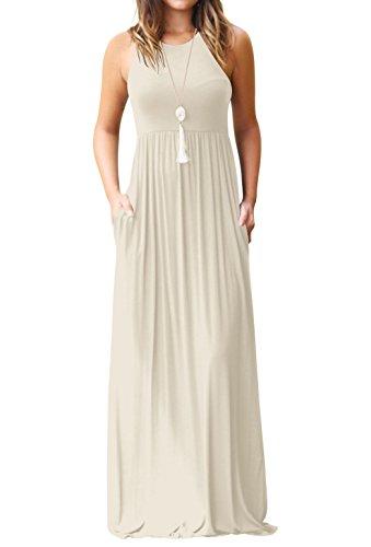 Sommer Kleider Damen Casual Rundhals Lange Kleid Trägerkleid Strandkleider  Mode Einfarbig Maxikleid Tunikakleid Partykleider Cocktailkleid Ballkleid 700c2bc8d7