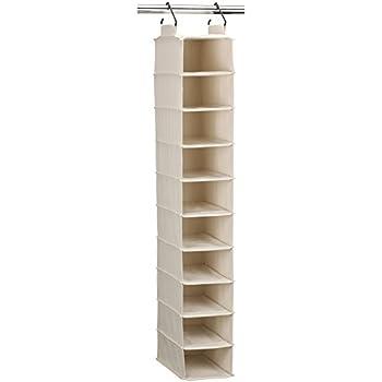 Gentil Household Essentials 3328 1 Cotton Canvas Hanging Closet Shoe Organizer |  10 Shelf | Natural