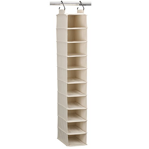 Household Essentials 3328-1 Cotton Canvas Hanging Closet Shoe Organizer | 10-Shelf | ()