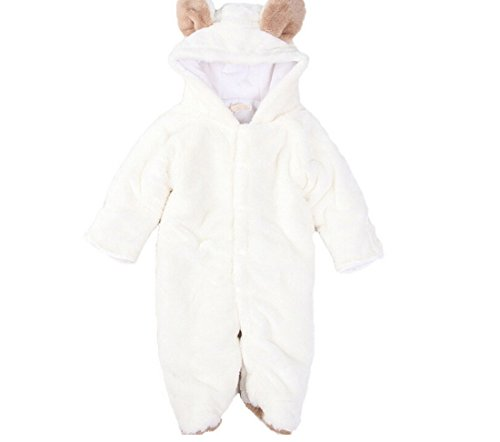ETSYG Warm Baby Infant Jumpsuit Body Suit(80 for 6-12 Months Baby, White Sheep)