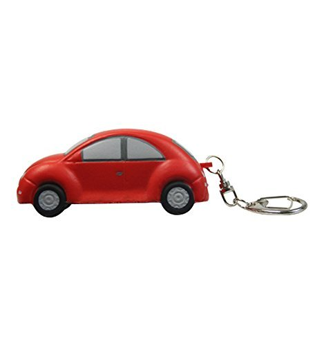Style Car Bug (Bug Style Car Stress Reliever Key Chain - Red - Promotional Product - Your Logo Imprinted (Case Pack of 144))