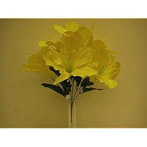 JumpingLight 6 Bushes Yellow Amaryllis 6 Artificial Silk Flowers 16'' Bouquet 647YL Artificial Flowers Wedding Party Centerpieces Arrangements Bouquets Supplies 114