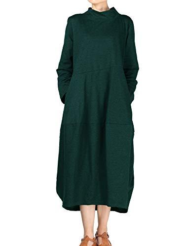 Mordenmiss Women's Autumn Turtleneck Long Baggy Dress with Pockets 2XL Green