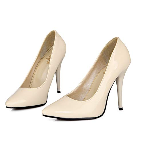 (HCHBE& 7 Color Red Yellow Glossy Women Nude Dress Pumps Stiletto Heels Lady Bridal Shoes W305 Plus Big Small Size 10 30 45 48 Beige 8.5)