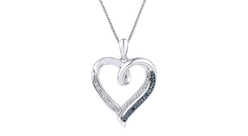 Black & White Round Natural Diamond Prong Set Heart Pendant Necklace 14k White Gold Over Sterling Silver