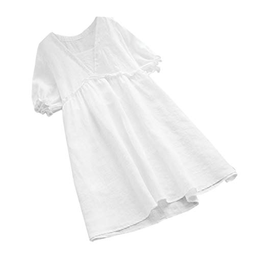 - Women Summer Short Sleeve Solid Loose Ruffles Fashion Long Top Casual Dress White