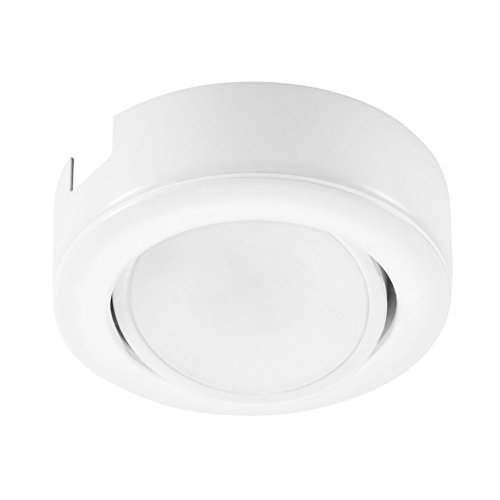 GetInLight Dimmable and Swivel, LED Puck Light Kit with ETL List, Recessed or Surface Mount Design, Warm White 2700K, White Finished, Power Cord Included, IN-0107-1S