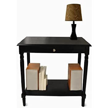 Convenience Concepts French Country Hall Table With Drawer And Shelf, Black