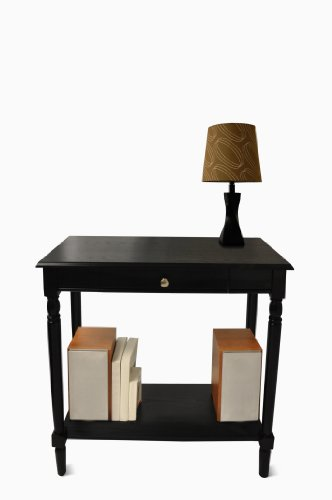 Country Foyer Table - Convenience Concepts French Country Hall Table with Drawer and Shelf, Black