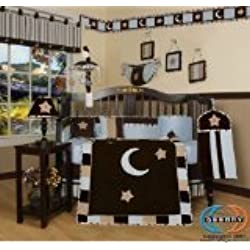 GEENNY Boy's 13 Piece Crib Bedding Set, Brown/Blue Star and Moon