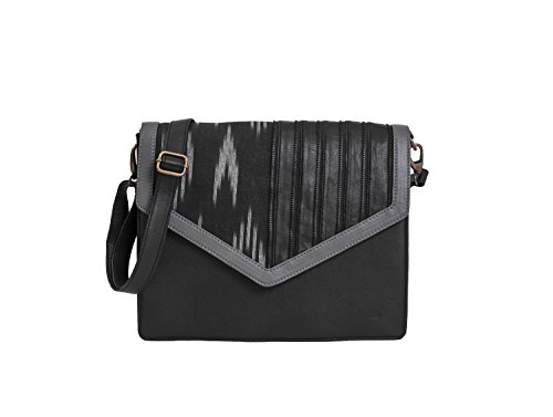 Paint Genuine Leather Black Ikat Print Messenger Bag