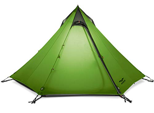 MIER 2-3 Person Ultralight Outdoor Camping Tent Waterproof Backpacking Pyramid Tent, 3 Season Quick Setup Teepee Tent (Trekking Pole is NOT Included), Green