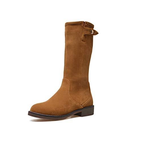 Hoxekle Mid Calf Boots Women Flock Autumn Winter Boots Zipper Fashion Square Heels Shoes Woman Office Boots