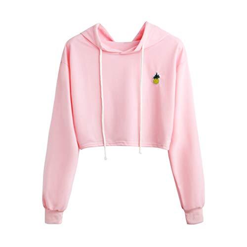 (Womens Pineapple Printed Hoodie Plaid Crop Top Pullover Sweatshirt Shirt Blouse Medium Pink)